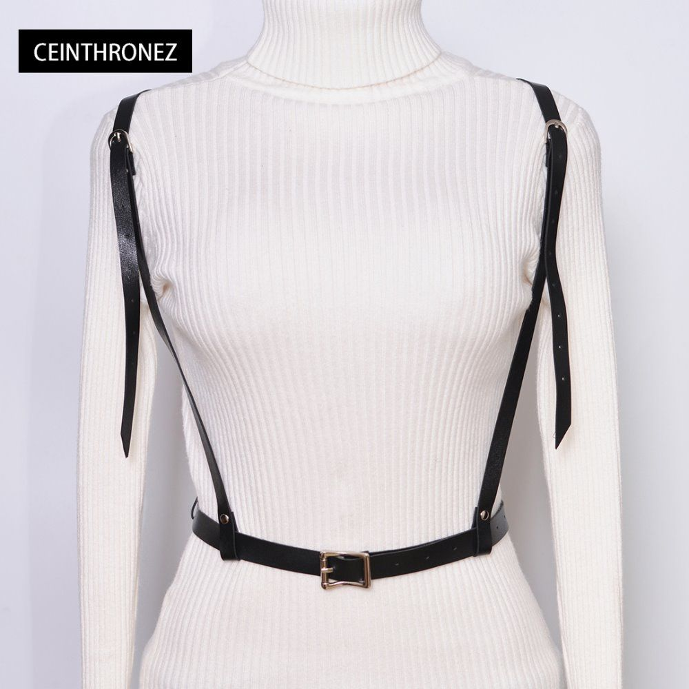 3869a25884f Click to Buy    Gothic Suspender Women Leather Harness Sexy Punk Cross  Sculpting