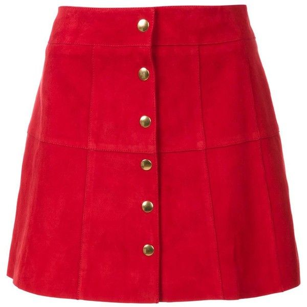 Ines de la Fressange Button Up a-Line Skirt (€780) ❤ liked on Polyvore featuring skirts, bottoms, red, saias, knee length a line skirt, button up skirt, red skirt, button down skirt and suede button down skirt