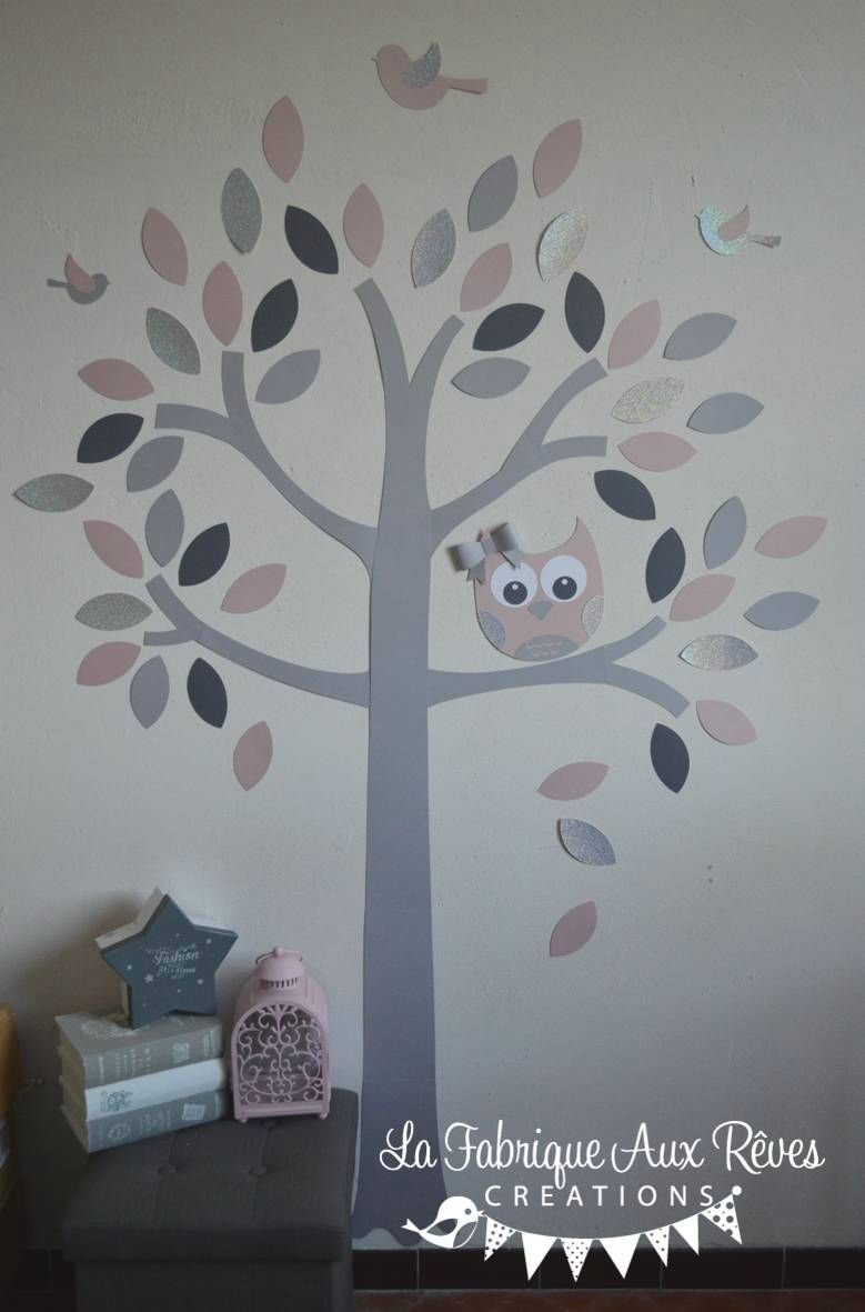 stickers arbre rose poudré rose argent gris foncé gris clair hibou ...
