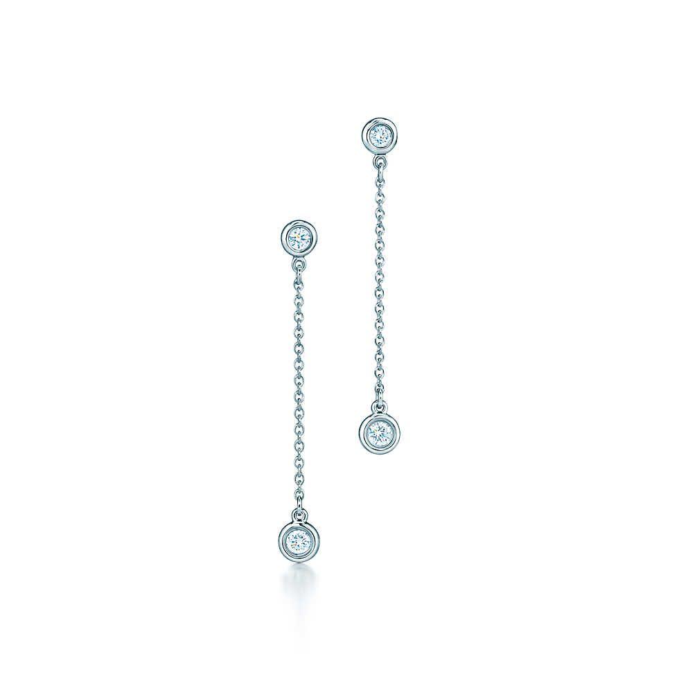 Elsa Peretti® Diamonds by the Yard® drop earrings in sterling silver. | Tiffany & Co.