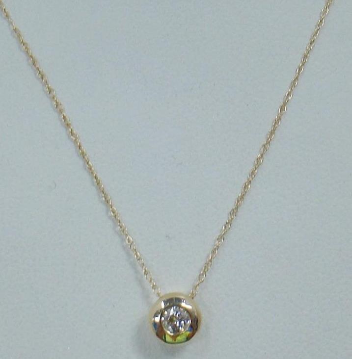 14k yellow gold 15 ct round diamond bezel pendant 14k 18 14k yellow gold 15 ct round diamond bezel pendant 14k 18 necklace chain 11 aloadofball Images