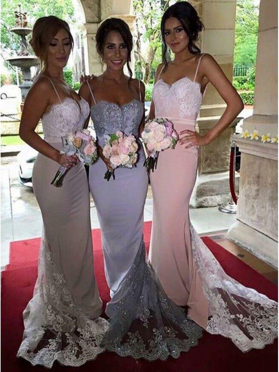 Trumpetmermaid spaghetti straps lace wedding party dresses