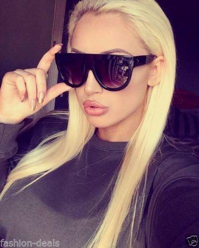 £1.99 GBP - Oversized Flat Top Aviator Designer Womens Ladies Sunglasses  Black Tortoise  ebay  Fashion 6f685b76f083