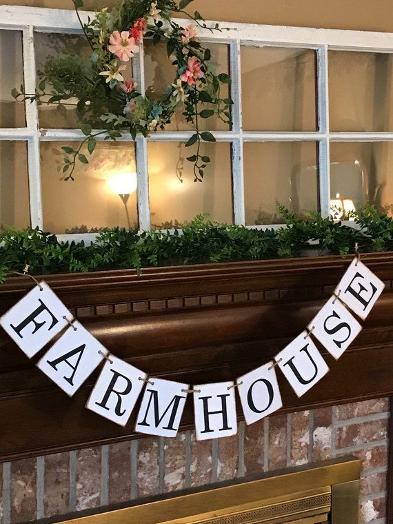 Farmhouse distressed chip board banner garland bunting sign photo prop home decor also welcome rh pinterest