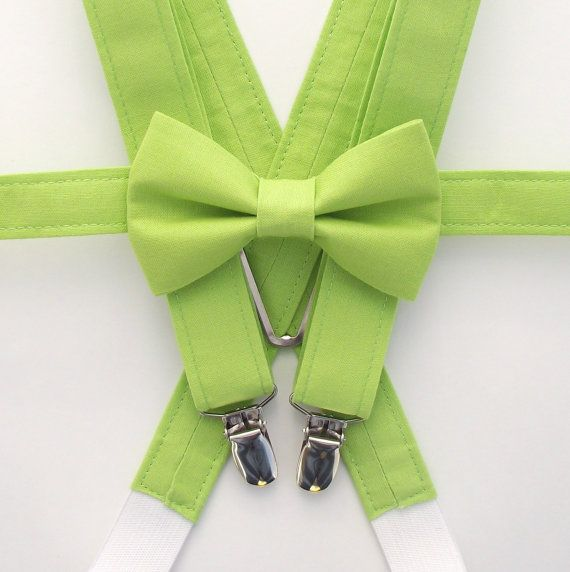 From Olive To Emerald Explore The: Green Bow Tie And Suspenders, Lime Green, Ring Bearer Gift