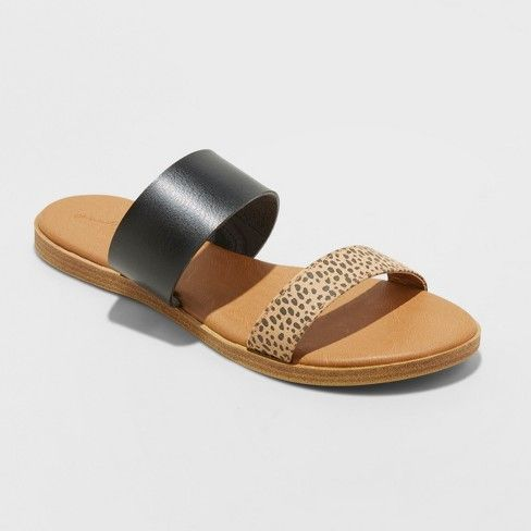 a3c76d18f Women's Torri Two Brand Leopard Sandals - Universal Thread™ Black 7 : Target