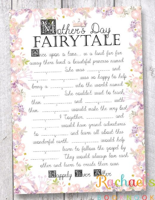 MotherS Day Fairy Tale Mad Libs Game For Kids  Mad Libs Game