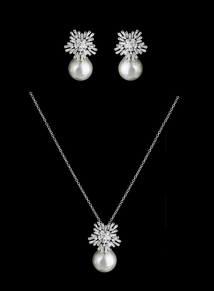 5 sets winter wonderland snowflake cz and pearl bridesmaid jewelry sets affordable elegance bridal
