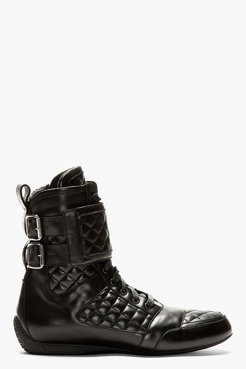 Balmain Black Quilted Leather High Top Sneakers Smart Casual