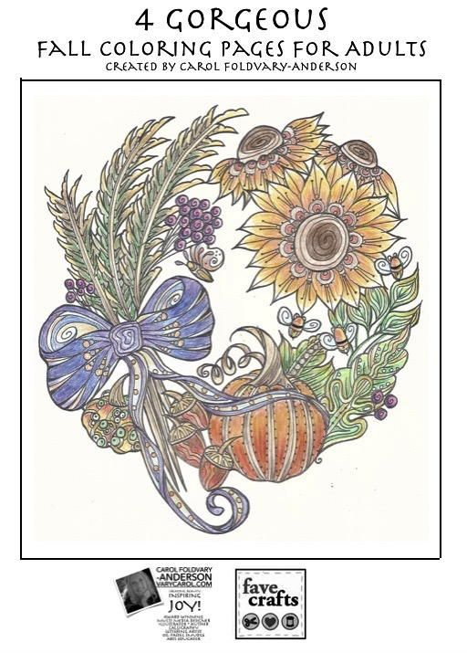 4 Gorgeous Fall Coloring Pages For Adults Craft Ideas Coloring