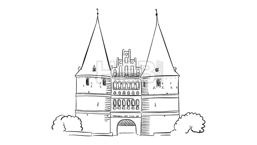 Holstentor Lubeck Animation by Hebstreits #stockfootage #drawing #sketch #animation #pen #footage