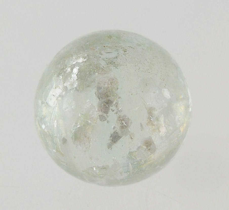 Vintage Antique Mica Blizzard Clear Glass PONTIL SWIRLS Marble #Glass