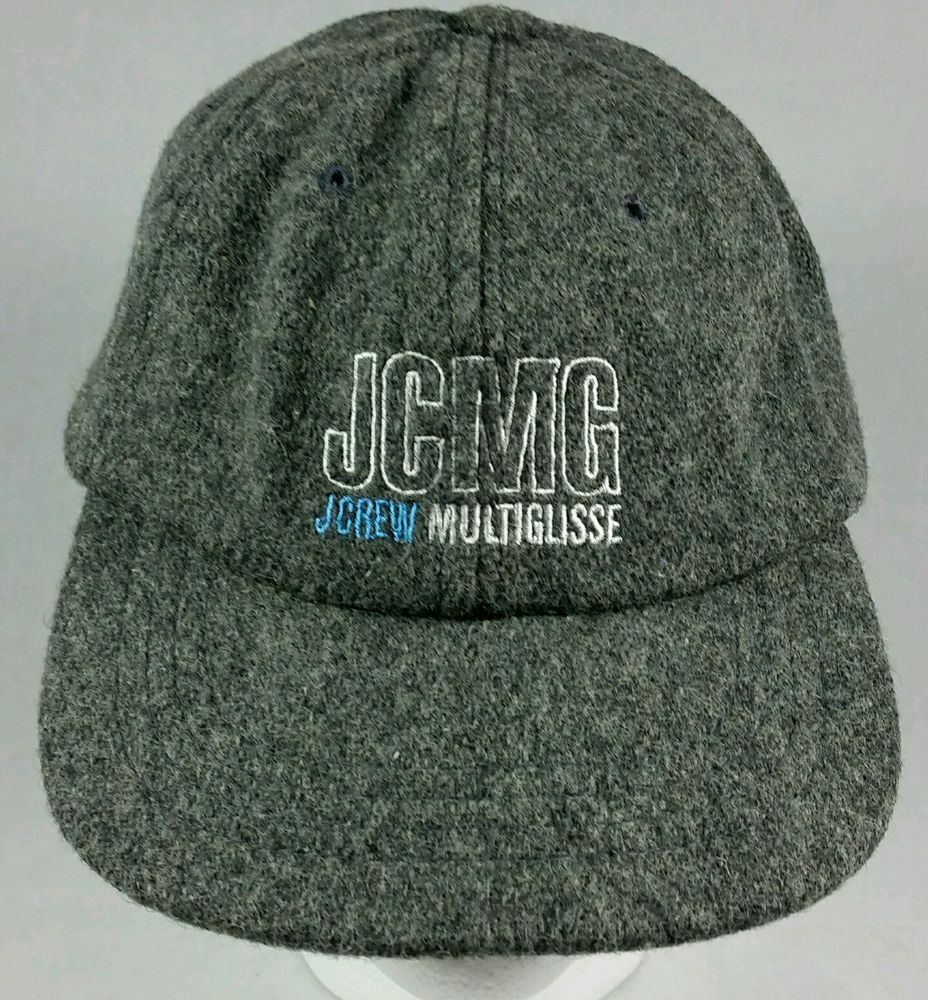 """NWOT Vintage J. Crew Multiglisse Grey Wool Snapback Baseball Hat """"Made in USA"""" 