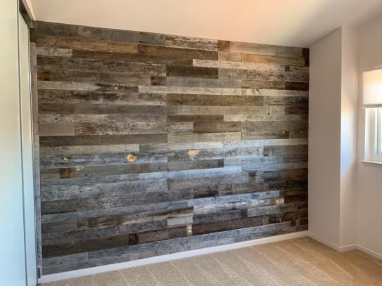 Vintage Timber 3 8 In X 4 Ft Random Width 3 In 5 In Grey Reclaimed Planks Decorative Wall Panel 10 59 Sq Ft Pack 2102 The Home Depot Wood Walls Living Room Wood Wall Design Accent Wall Bedroom