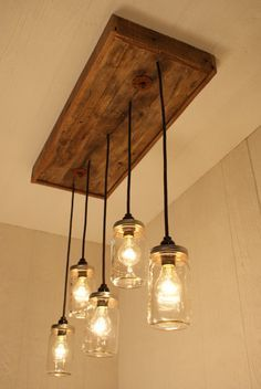 Mason jar lights with reclaimed wood and 5 pendants r 1434 cmj 5 dont know that id use mason jars but might be another way to coverreplace florescent light in kitchen workwithnaturefo