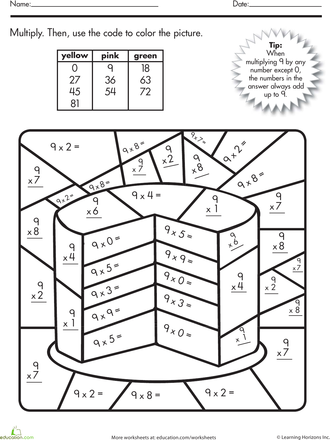 Multiplication Color By Number Cake Math Worksheets Pinterest