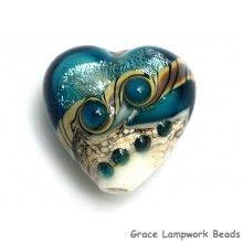 Grace Lampwork Beads // 11831805 - Teal Stardust Heart