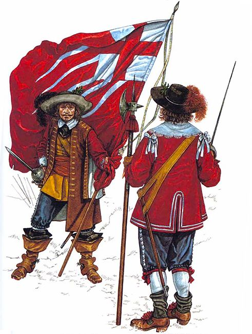 • Ensign with 4th captain's colour, Red Regt., London trainad bands 1643 • Sergeant, Red Regt., London trained bands 1643