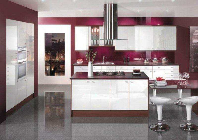 cuisine-rouge-grise-credence-cuisine-bordeaux-îlot-armoires-blanches - Photo Cuisine Rouge Et Grise