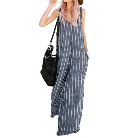 337f4413e0a2 2018 ZANZEA Jumpsuits Women Wide Leg Trousers Striped Sexy Deep V Neck  Sleeveless Strappy Summer Pants Casual Overalls Plus Size