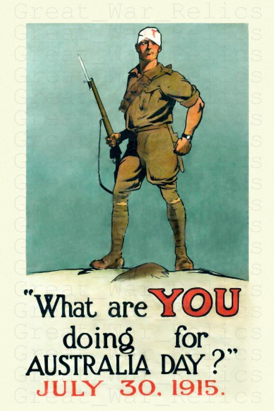 Details About Ww1 Anzac Day Australia Art Poster