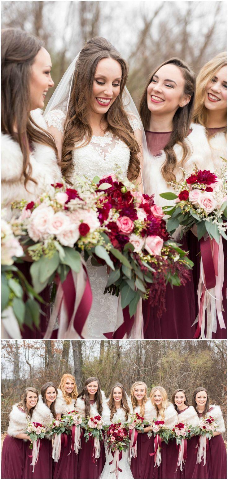 Winter bridal party fur stoles long wine colored bridesmaid