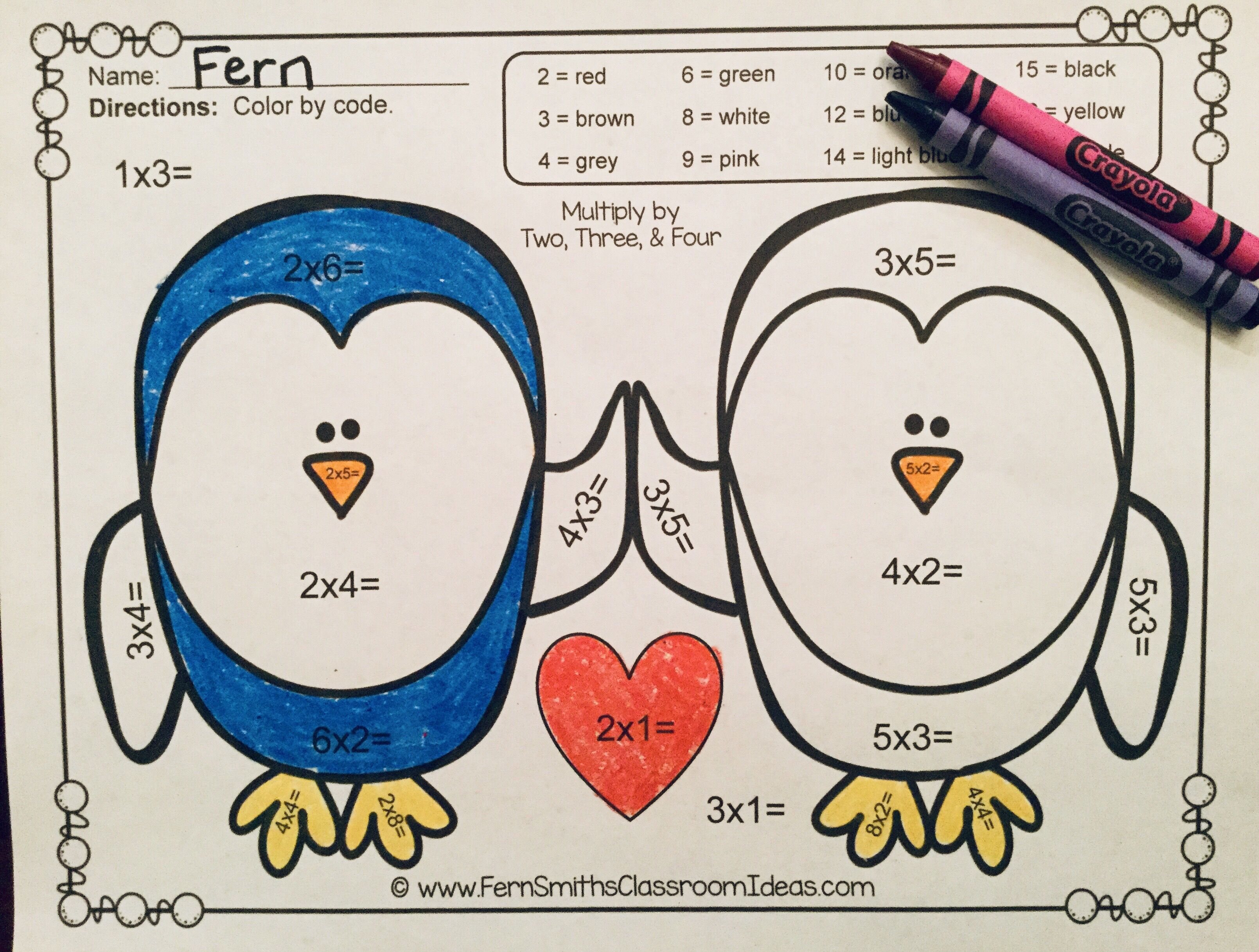Valentine S Day Color By Number Multiplication
