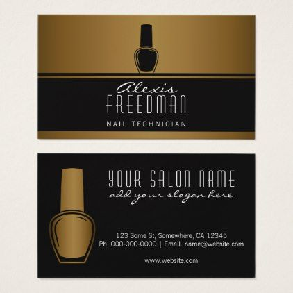 Shimmering Gold And Charcoal Black Nail Technician Business Card Modern Gifts Cyo Gift Ideas Personalize