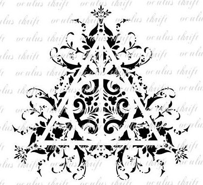 Harry Potter Deathly Hallows Damask Cut File By Oculusthrift On
