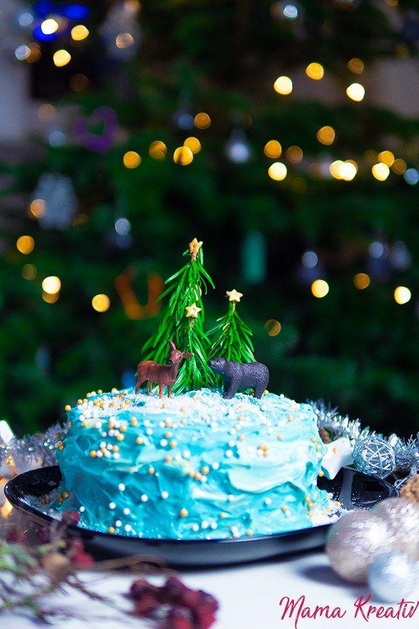 Winterwunderland Torte Fur Edens Geburtstag Geburtstag Torte Backen Fur Weihnachten Kreative Kuchen