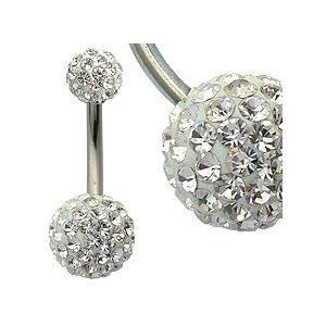 4eb98f4dd2968 Utopia© belly bar, Crystal Clear Round, body jewelry, surgical steel ...