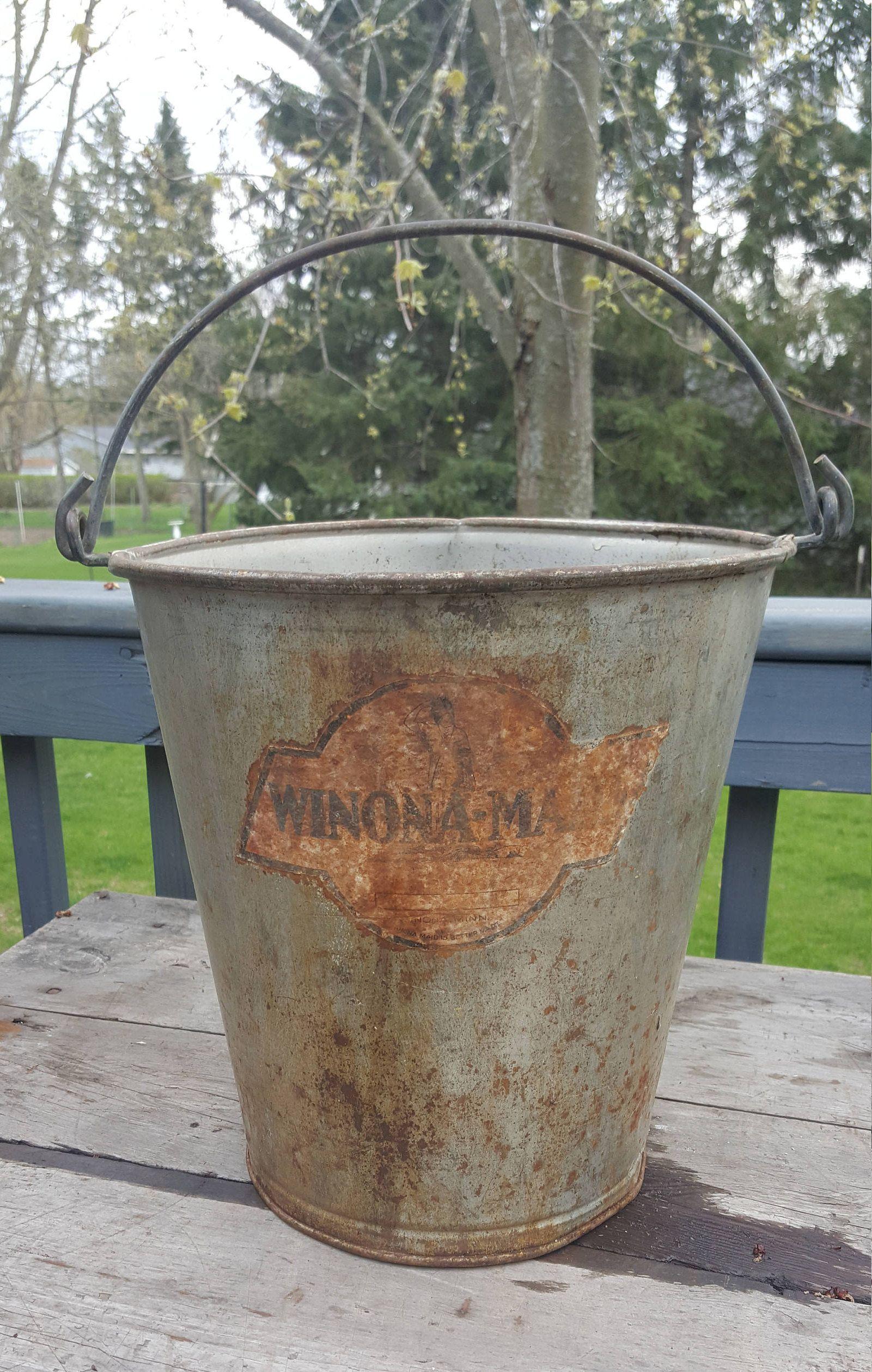 Old Galvanized Metal Oval Pail Winona Maid Cream Dairy Bucket Minnesota Handled Vintage Advertising Fa Antique Metal Bucket Galvanized Metal Antique Metal