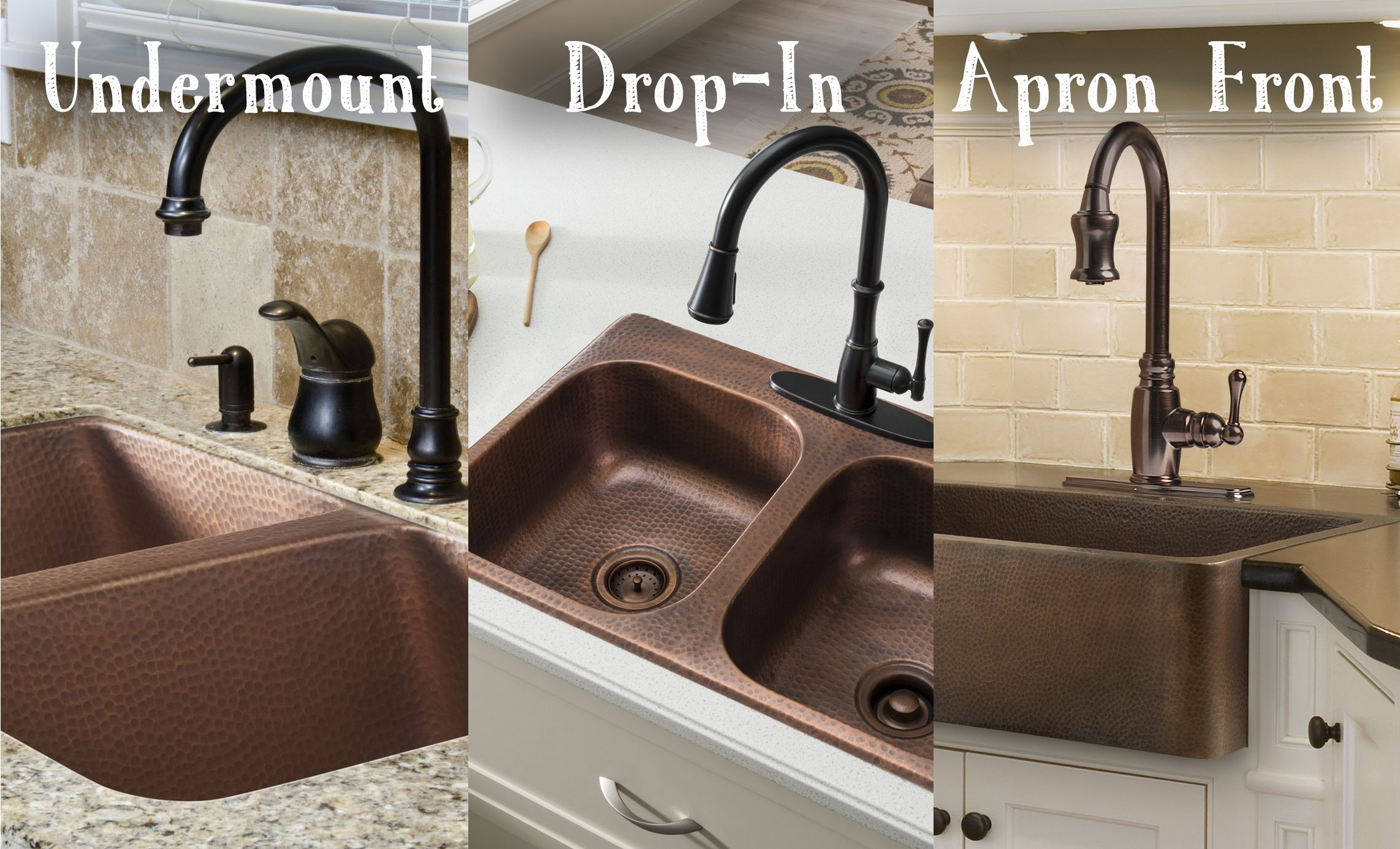 Sinkology copper kitchen sinks are available in dropin