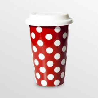 11 oz. Red with White Dots Travel Mug - Set of 2 | for the random ...