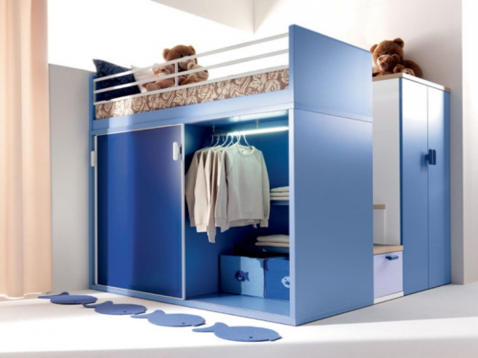 entracing bedroom loft design. Wooden Loft Bunk Bed In Glossy Blue Finish Integrated With Small Closet  Having Steel Pipe Clothes Hanger And Bottom Storage Also Linen Shelves Entrancing interior blue closet for small bedroom under loft bed catchy