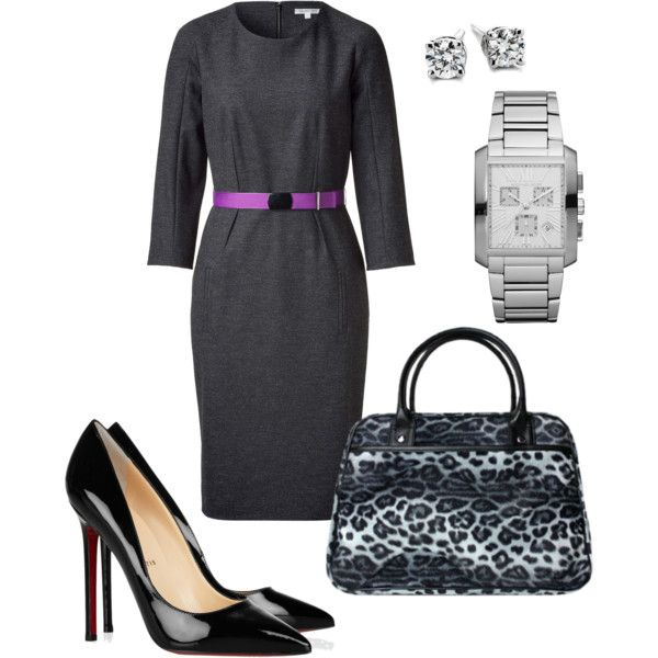 Long sleeved gray dress. Black & silver accessories