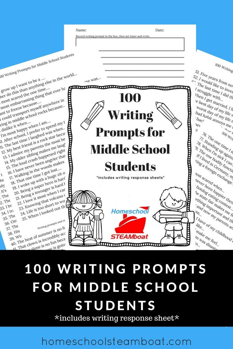 This Free Printable Has 100 Writing Prompts For Middleschool Students And Writing Response Sheets Ho Writing Response Middle School Middle School Student