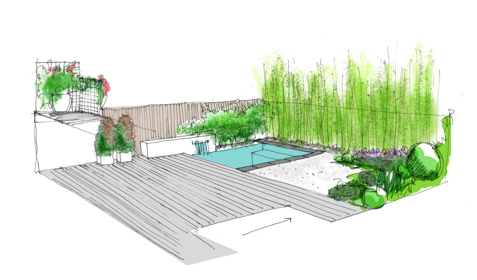 Propuesta para jard n de dise o con piscina fuente by for Planos de jardines