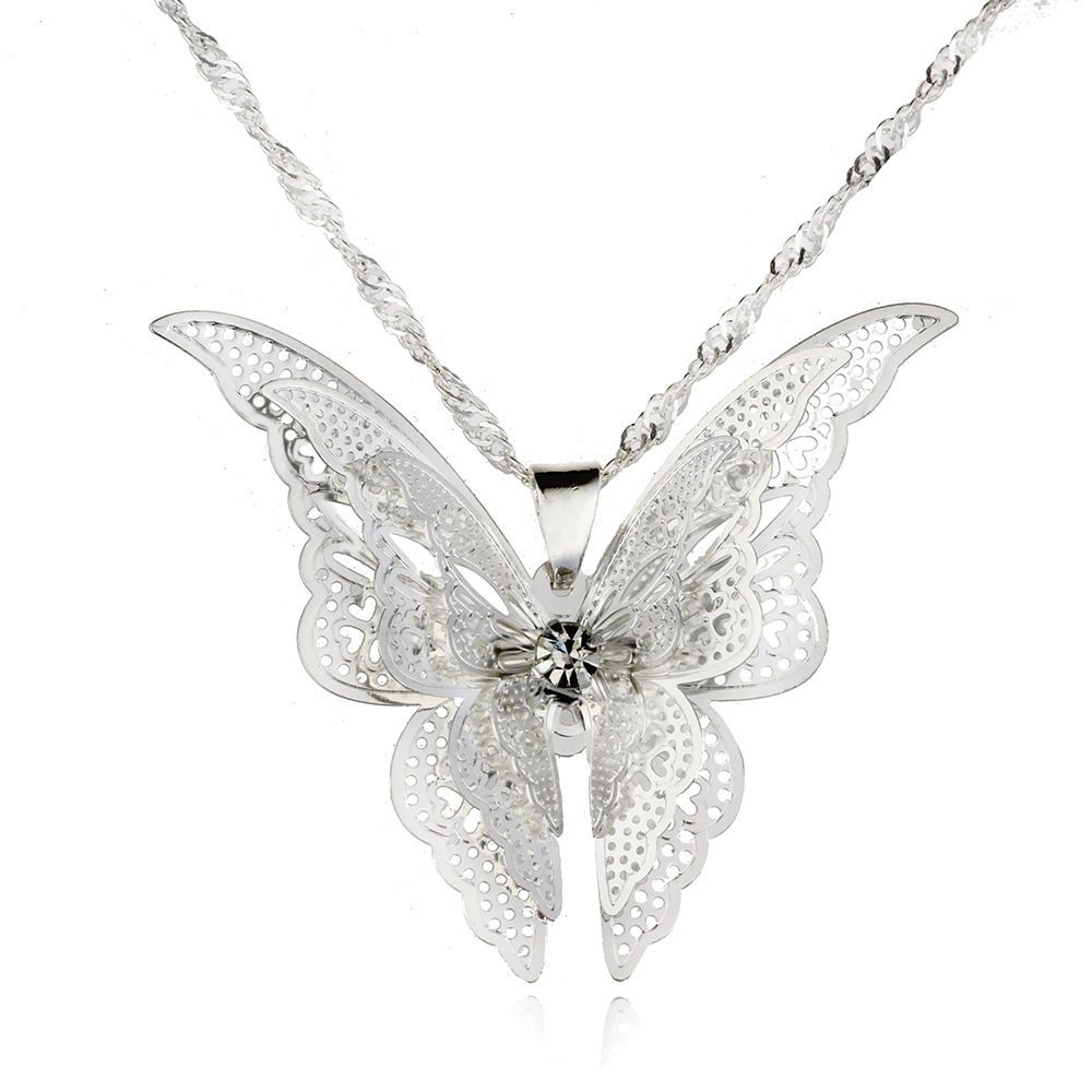 Lady Fashion For Women Butterfly Necklace Pendant Jewelry Hollow Silver Plated