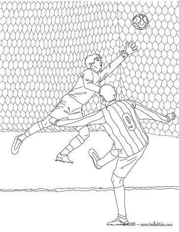 Color in this Soccer player scoring a goal coloring page