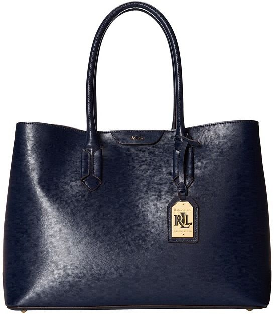 Leather � $268, Navy Leather Tote Bag: Lauren Ralph ...