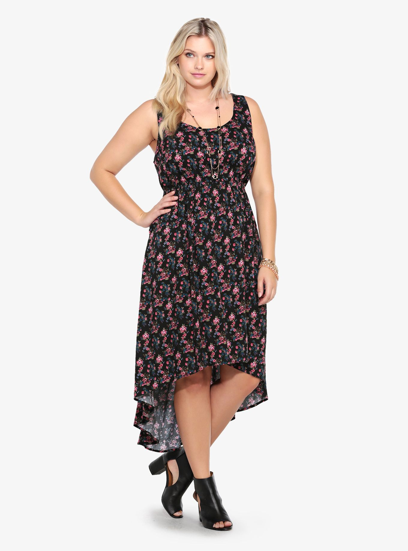 1ecf132ba32 Floral Print Challis Hi-Lo Tank Dress