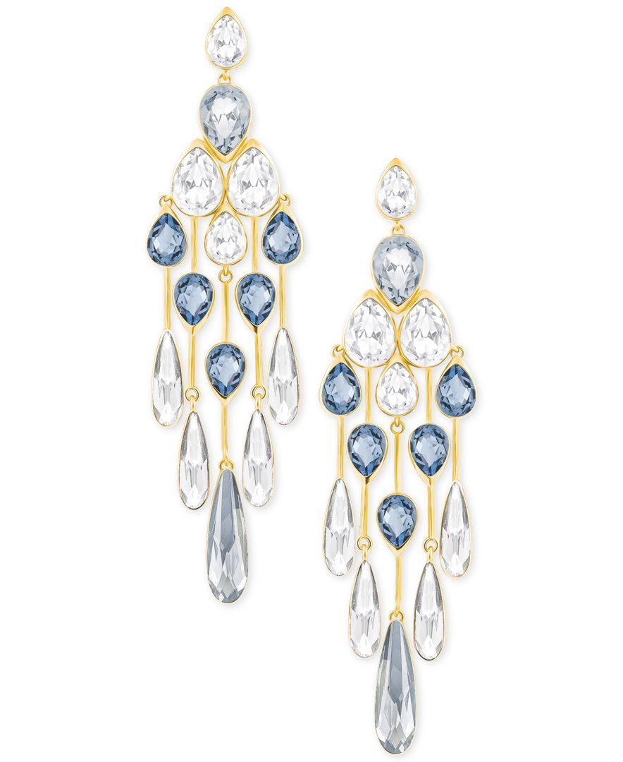 Swarovski Gold Tone Blue And Clear Crystal Chandelier Earrings