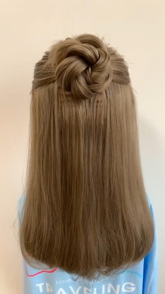 Photo of Cute Half Up Hairstyles Tutorial. Braided hairsyles, Hairstyles for thin hair, Short bob hairstyles.
