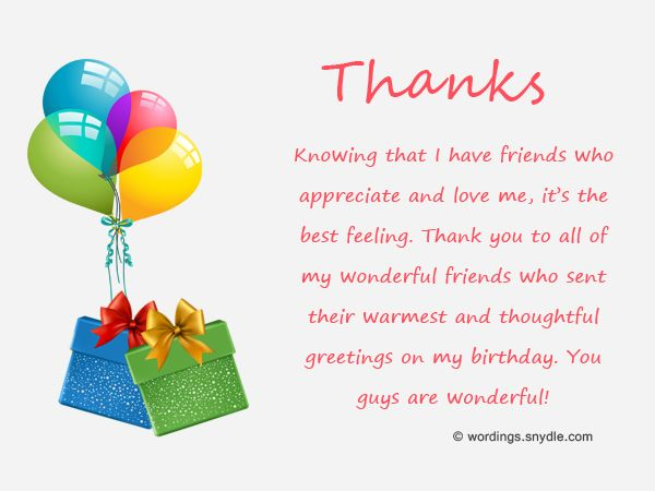 Birthday Thank You Messages Thank You for Birthday Wishes – Thanks Greetings for Birthday