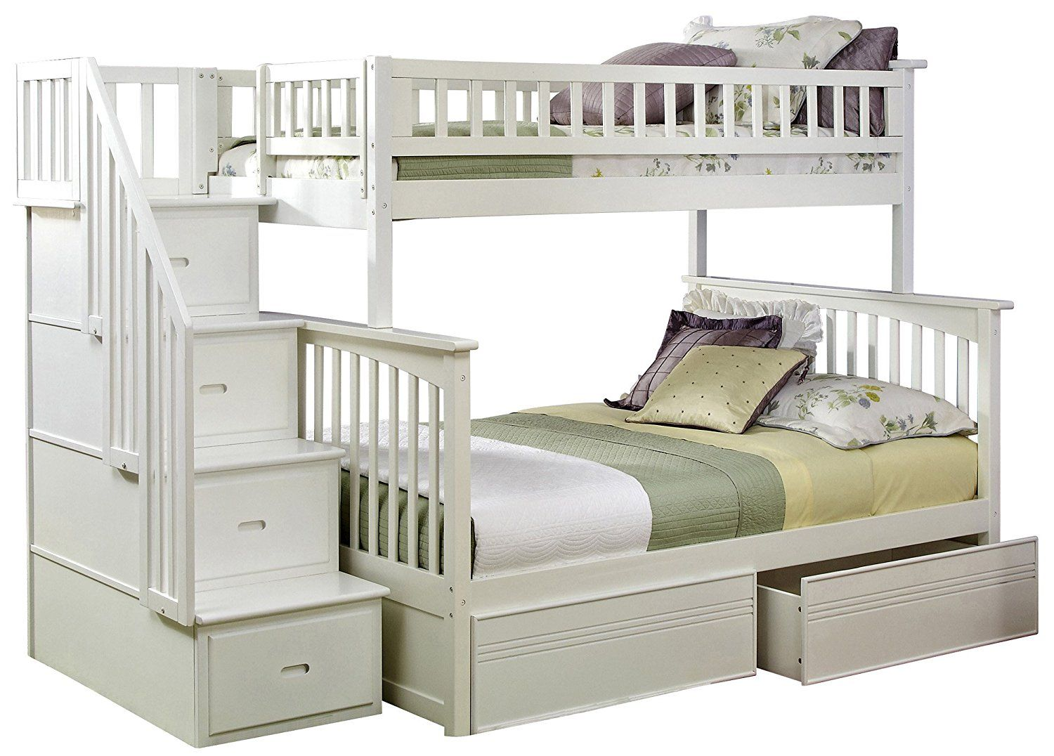 Loft bed with desk and trundle  Have you ever seen a white bunk bed without stairs How else are you