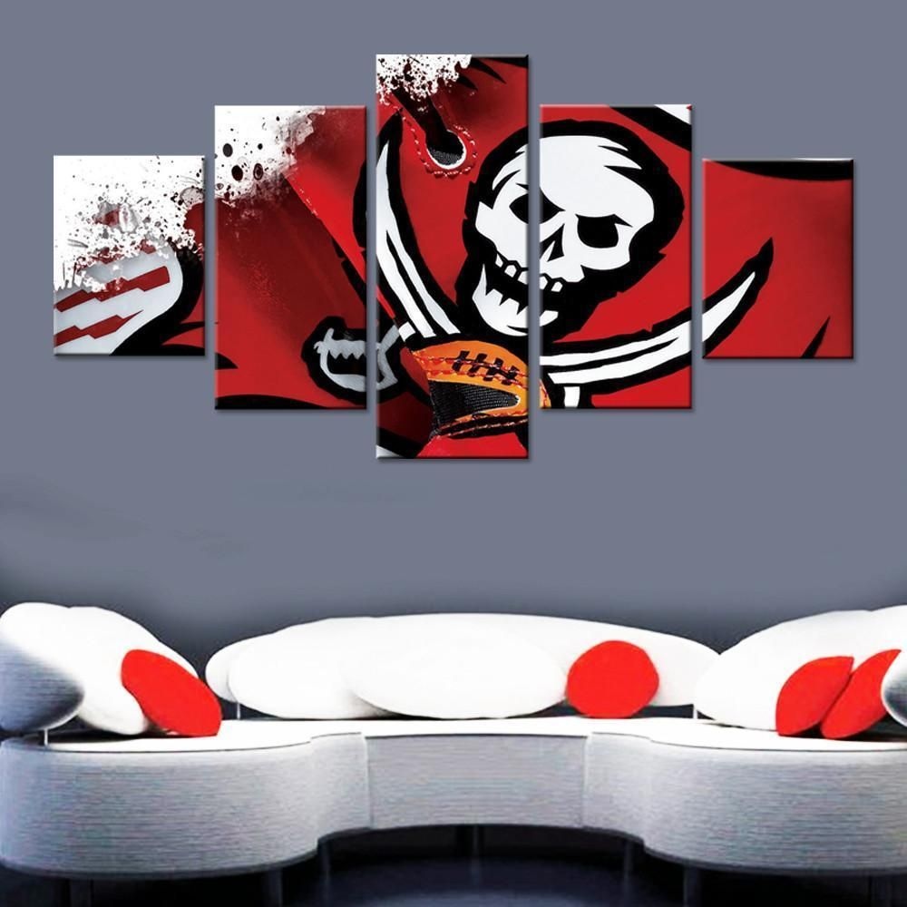Framed 5pcs Tampa Bay Buccaneers Art Canvas Print Wall Painting Art Home Decor Canvas Homedecor Nfl
