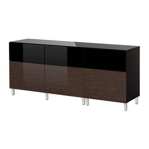 BEST Storage combination w doors/drawers - black-brown ...