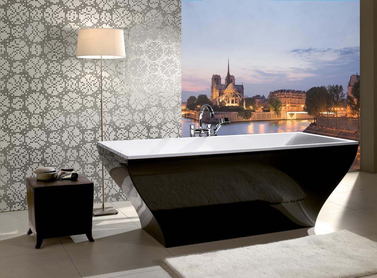 Villeroy Boch La Belle Freestanding Quaryl Bath Black Bathtub Bathtub Modern Bathroom