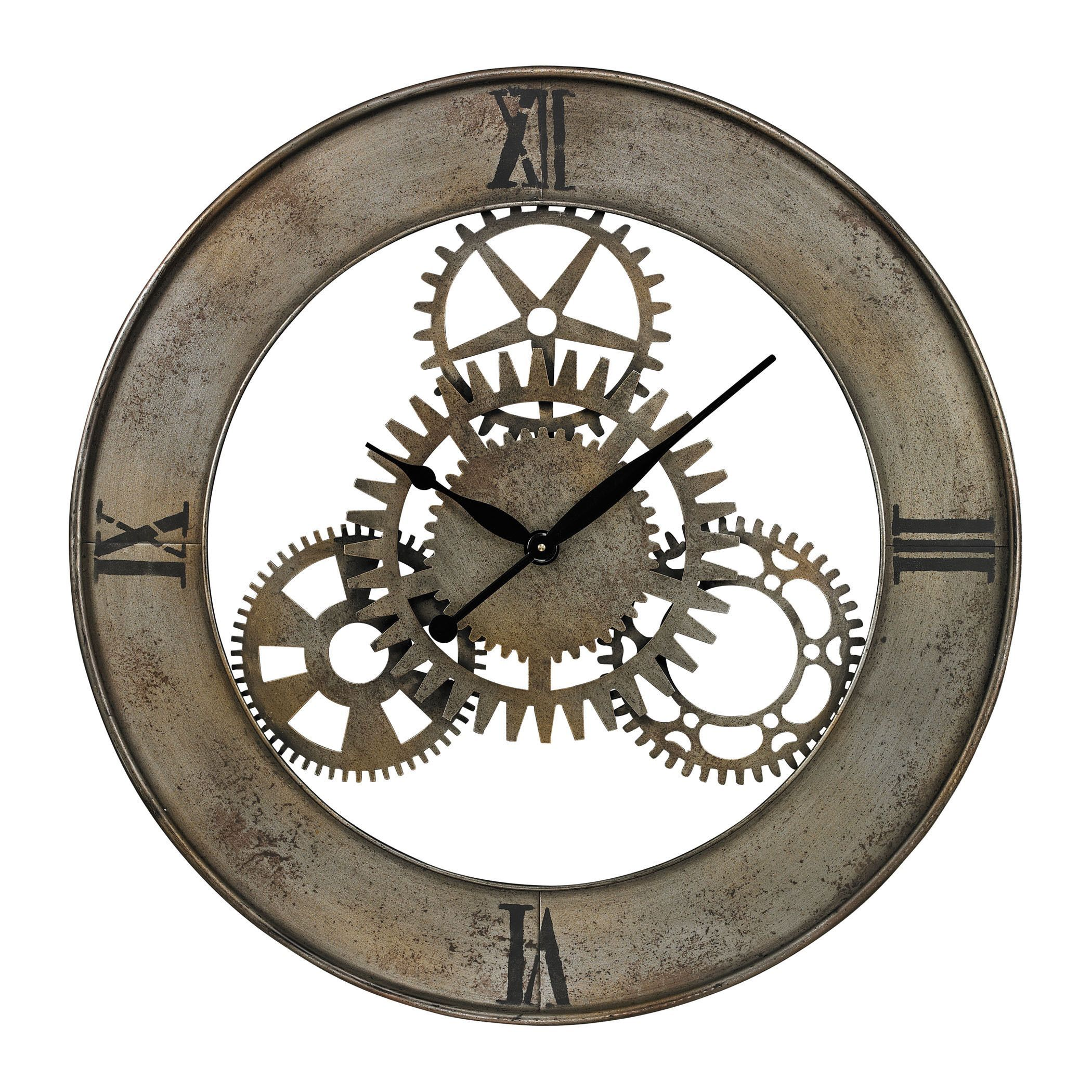 Industrial Cog Wall Clock (Silver With Champagne Antique